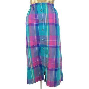 80s Check Print High Rise Button Down Midi Skirt